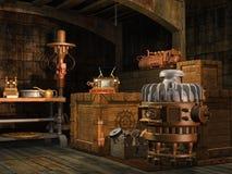 Weinlesegeräte in einem Keller Stockfotos