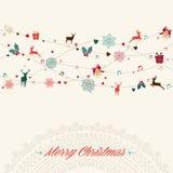 Weinlesegirlandenkarte der frohen Weihnachten Lizenzfreie Stockbilder