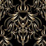 Weinlesegold-Blumen-nahtloses Muster 3d Vektor kopierter Damast Stockbild