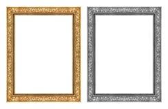 Weinlesegold und grauer Rahmen lokalisiert auf weißem Hintergrund und CLI Stockfotografie