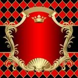 Weinlesegold und rote Fahne mit einer Krone an auf rotem und schwarzem Rho vektor abbildung