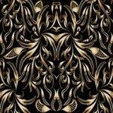 Weinlesegoldblumenhand gezeichnetes nahtloses Muster Vektor patterne Lizenzfreie Stockfotos
