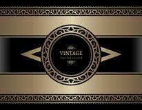 Weinlesegoldkarte mit dekorativen Grenzen Stockfotografie