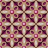 Weinlesegoldschmuckverzierung, nahtloses Muster Stockbilder