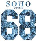 Weinlesegrafik Soho London für T-Shirt Druck stock abbildung