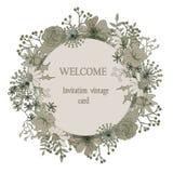 Weinlesegrußkarte mit Blumen auf Weinleseblumenhintergrund Stockfoto