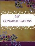 Weinlesegrußkarte mit Blumen auf Weinlesehintergrund Stockfotos