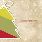 Weinlesegrußkarte mit Weihnachtsbaum Lizenzfreie Stockfotografie