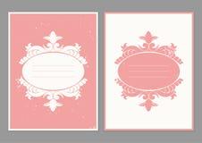 Weinlesegrußkartenschablone Retro- Hochzeitseinladungen mit Schmutzbeschaffenheit Lizenzfreies Stockbild
