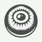 Weinlesehalloween-Auge im Retrostil Einfarbige grafische Kunst Stockfotografie