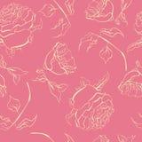 Weinlesehandgezogenes Aquarell stieg nahtloser Mustervektor der Blume lizenzfreies stockbild