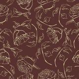 Weinlesehandgezogenes Aquarell stieg nahtloser Mustervektor der Blume stockbilder