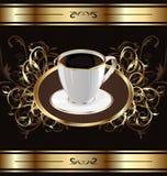 Weinlesehintergrund für Verpackungskaffee, Kaffeetasse stockfotografie