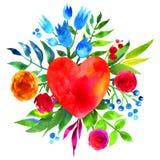 Weinlesehintergrund mit Blumen in der Liebe und im Blumenherzen, Blumenherz des schönen Aquarells Liebes-Herzikone Sommer botanis Stockbilder