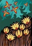 Weinlesehintergrund mit den Blumen Lizenzfreies Stockbild