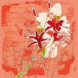 Weinlesehintergrund mit Lilienblumen Stockbild