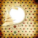 Weinlesehintergrund mit Punkten und Weihnachtsbaum Stockfoto
