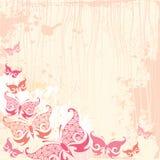 Weinlesehintergrund mit Schmetterling im Rosa Stockbild
