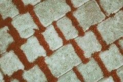 Weinlesehintergrund von diagonalen Betonziegeln mit roten Anlagen stockbild