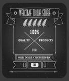 Weinlesehippie-Einladungsspeicherdesign mit Fadenkreuz Qualitätsprodukte Stockfotografie