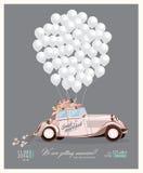 Weinlesehochzeitseinladung mit gerade verheiratetem Retro- Auto und weißen Ballonen Stockbild