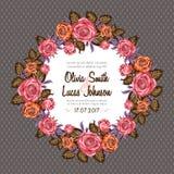Weinlesehochzeitseinladungs-Kartenrahmen mit Rosen stock abbildung