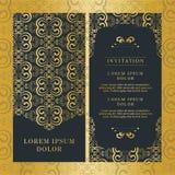 Weinlesehochzeitseinladungskartenvektordesign-Goldfarbe stockfoto