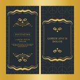 Weinlesehochzeitseinladungskartenvektordesign-Goldfarbe lizenzfreie stockfotografie