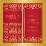 Weinlesehochzeitseinladungskartenvektordesign-Goldfarbe stockbild
