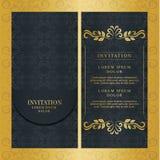 Weinlesehochzeitseinladungskartenvektordesign-Goldfarbe lizenzfreies stockfoto