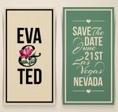 Weinlesehochzeitskarte mit rosa Tulpe. Vektorillustration Stockfoto