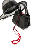 Weinlesehut und -handtasche Lizenzfreies Stockfoto