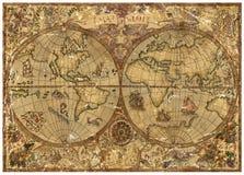 Weinleseillustration mit Weltatlaskarte auf altem strukturiertem Pergament Stockfotografie