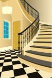 Weinleseinnenraum der Halle mit einem Treppenhaus Design des modernen Raumes Symbolmöbel, Hallenillustration Stockfoto