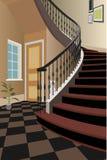 Weinleseinnenraum der Halle mit einem Treppenhaus Design des modernen Raumes Symbolmöbel, Hallenillustration Lizenzfreie Stockfotografie