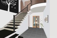 Weinleseinnenraum der Halle mit einem Treppenhaus Design des modernen Raumes Symbolmöbel, Hallenillustration Stockbild