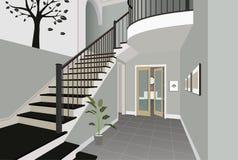 Weinleseinnenraum der Halle mit einem Treppenhaus Design des modernen Raumes Symbolmöbel, Hallenillustration Lizenzfreies Stockfoto