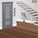 Weinleseinnenraum der Halle mit einem Treppenhaus Design der modernen Halle Symbolmöbel, Hallenillustration Stockbilder