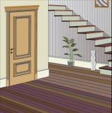 Weinleseinnenraum der Halle mit einem Treppenhaus Design der modernen Halle Symbolmöbel, Hallenillustration Lizenzfreie Stockbilder