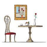 Weinleseinnenraum mit Tabelle, chare, Blumen und lizenzfreie abbildung