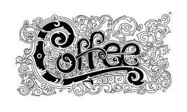 Weinlesekaffeelogo, stilvolle grafische Beschriftung Lizenzfreie Stockfotos