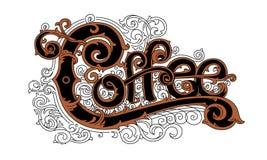 Weinlesekaffeelogo, stilvolle grafische Beschriftung Stockbilder