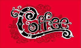 Weinlesekaffeelogo, stilvolle grafische Beschriftung Stockfotos