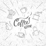 Weinlesekaffeeplakat mit Beschriftung Lizenzfreie Stockfotos