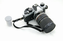 Weinlesekamera und -film Lizenzfreies Stockfoto