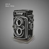 Weinlesekamera-Vektorillustration Antike Fotoausrüstungsikone Lizenzfreie Stockfotos