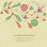 Weinlesekarte mit abstrakten Chrysanthemeblumen Lizenzfreies Stockfoto