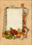 Weinlesekarte mit feinen Herbstdekorationen mit Platz für Fotos Stockbilder