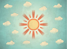Weinlesekarte mit Sonne Stockbild