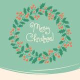 Weinlesekarte mit Weihnachtskranz Stockbilder
